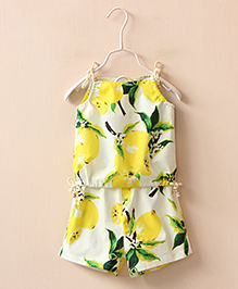 Lil Mantra Top And Shorts Set - Yellow & White