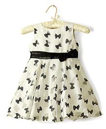 Nitallys Bow Print Dress - White