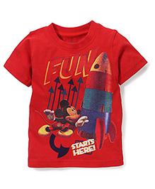 Disney by Babyhug Half Sleeves T-Shirt With Fun Print - Red