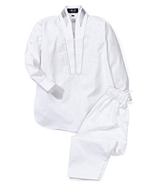 Robo Fry Full Sleeves Pathani With Pajama - White