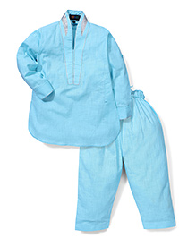 Robo Fry  Full Sleeves Pathani With Pajama - Sky Blue