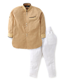 Robo Fry Full Sleeves Pathani Suit - Fawn White
