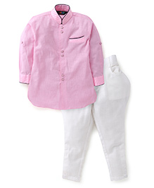 Robo Fry Full Sleeves Pathani Suit - Pink White