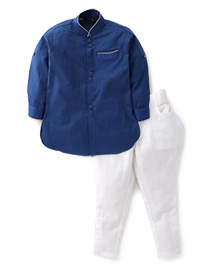 Robo Fry Full Sleeves Pathani Suit - Blue White
