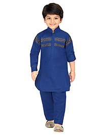 Robo Fry Full Sleeves Pathani Suit - Royal Blue