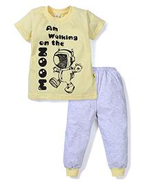 Tiny Bee Boys Tee & Pyjama Set - Grey & Yellow