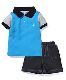 Tiny Bee Boys Polo Tee & Denim Shorts - Blue & Black