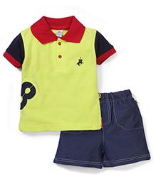 Tiny Bee Boys Polo Tee & Denim Shorts - Blue & Yellow