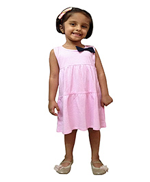 Snowflakes Sleeveless Knit Frock With Bow Applique - Pink