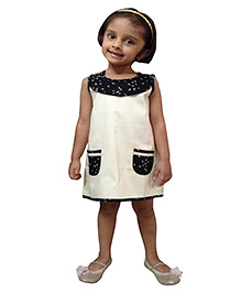 Snowflakes Sleeveless Frock  - Beige And Black