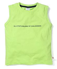 Ollypop Sleeveless T-Shirt Colors of Childhood Print - Green