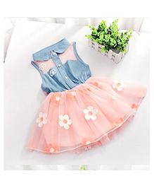 Tickles 4 U Denim Dress - Blue & Peach