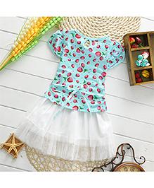 Pikaboo Party Wear Strawberry Print Dress - Blue