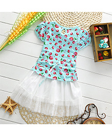 Pikaboo Party Wear Strawberry Print Dress - Blue
