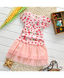 Pikaboo Party Wear Strawberry Print Dress - Pink