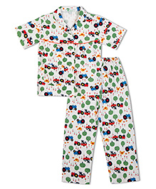 Green Apple Farm Print With Trees Cows And Hens Nightsuit - White