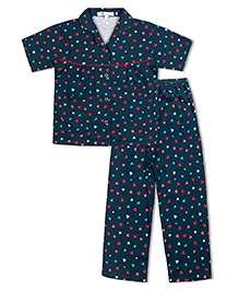 Green Apple Red Pink And Blue Hearts Nightsuit - Dark Blue