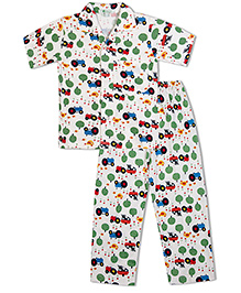 Green Apple Farm Print With Trees Cows And Hens Print Nightsuit - White