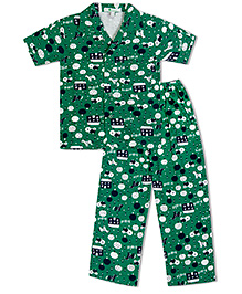 Green Apple Horses Tractors And Trees Nightsuit - Dark Green