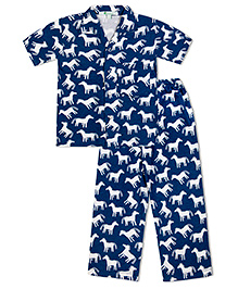 Green Apple Cute White Horses Nightsuit - Blue