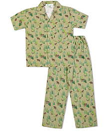 Green Apple Green Forest Print With Trees Bears And Deer Nightsuit - Green