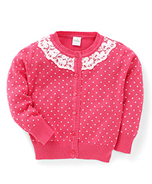 Babyhug Full Sleeves Cardigan Lace Design - Pink
