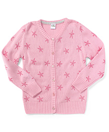 Babyhug Full Sleeves Cardigan Star Print - Pink