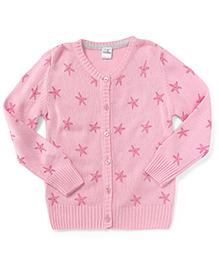 Babyhug Full Sleeves Cardigan Star Print - Pink