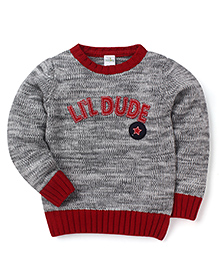 Babyhug Full Sleeves Sweater Lil Dude Patch - Grey Red