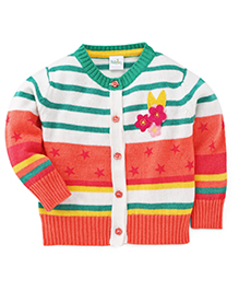 Babyhug Full Sleeves Cardigan Striped - Multicolor