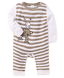 Babyhug Long Sleeves Romper Bear Embroidery - Brown And White