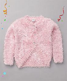 Babyhug Full Sleeves Flurry Shrug With Rhinestone Buttons - Pink