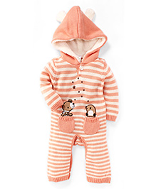 Babyhug Full Sleeves Hooded Romper With Two Pocket - Peach