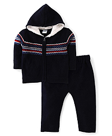 Babyhug Full Sleeves Winter Wear Top And Bottom Set - Blue