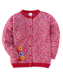 Babyhug Full Sleeves Cardigan Sweater Floral Patch - Red