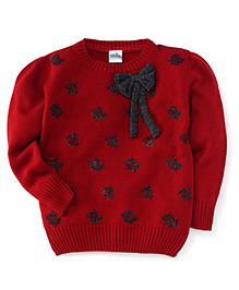 Babyhug Full Sleeves Sweater Bow Applique - Red