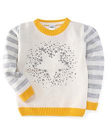 Babyhug Full Sleeves Star Knit Design Sweater - Off White