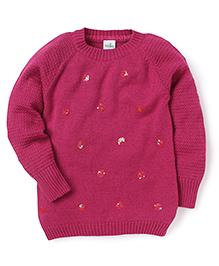 Babyhug Full Sleeves Sweater Sequin Detailing - Dark Pink
