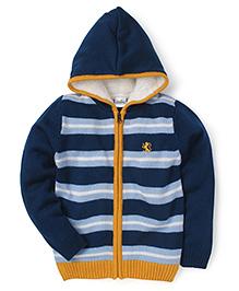 Babyhug Full Sleeves Hooded Stripe Sweater - Blue Yellow