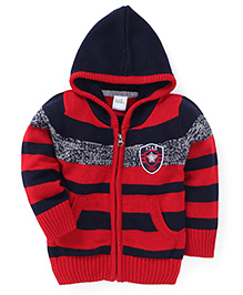 Babyhug Full Sleeves Hooded Sweater Stripes Pattern - Red And Navy