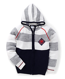 Babyhug Full Sleeves Hooded Sweater Stripes Pattern - Grey And Navy