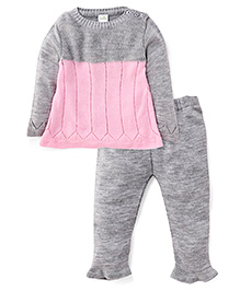 Babyhug Full Sleeves Knit Top And Legging Set - Grey & Pink