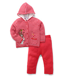 Babyhug Full Sleeves Hooded Top And Bottom Set - Red