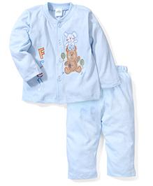 Babyhug Full Sleeves Night Suit Teddy Print - Sky Blue