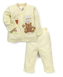 Babyhug Full Sleeves Night Suit Teddy Print - Lemon Yellow