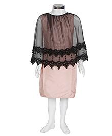 Kidology Lace Cape Dress - Peach & Black