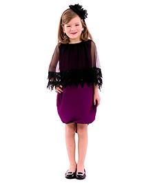 Kidology Lace Cape Dress - Purple & Black