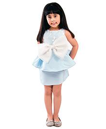 Kidology Marlyn Lace Bow Peplum Dress - Mint Blue