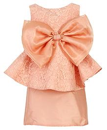 Kidology Marlyn Lace Bow Peplum Dress - Peach
