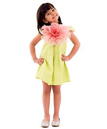 Kidology Watermelon Big Flower Shift Dress - Green & Pink